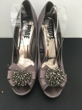 Fiore Grey satin effect UK Size 8 high heels stiletto's peep toe party sparkle