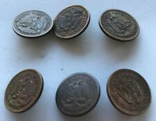 6 Vintage Mexican Handmade Coin Buttons Shank Buttons Crafts Artisan 2 Designs