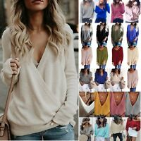 Plus Size Women Long Sleeve V-Neck Baggy Sweater Pullover Jumper Autumn Clothes