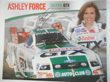 Ashley Force signed 2008 CASTROL GTX FORD MUSTANG FUNNY CARD 8x10 Hero Card