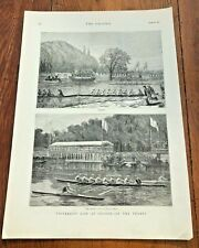 1877 original print - university life at oxford - on the thames