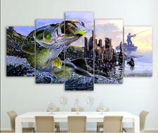Largemouth bass fish fishing Animal 5 Pcs Canvas Art Wall Art Picture Home Decor