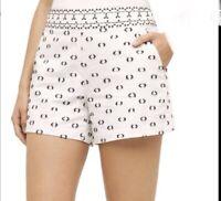 """Anthropologie Hei Hei Tailored """"Clip Dot"""" Shorts White Black Cotton Size 0 EUC"""