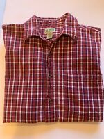 Haband Mens Red Plaid Short Sleeve Button Down Shirt SZ XL