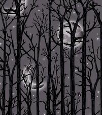 "Halloween Fabric - Fright Night Moon and Tree Stripe Gray - Henry Glass 30"""