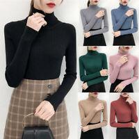 Winter Women Slim Sweater Long Sleeve Turtleneck Basic T-Shirt Jumper Blouse CZ