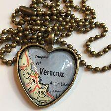 VERACRUZ HEROICA MEXICO Map Pendant bronze necklace ATLAS f04