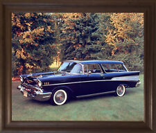 1957 Chevy Nomad Bel Air Vintage Car Brown Rust Wall Art Decor Framed Picture