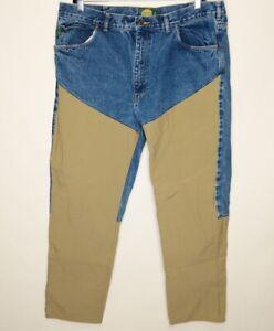 Cabela's Mens 42/32 Denim Blue Jeans Beige Brush Pants Outdoor Hunting Protect