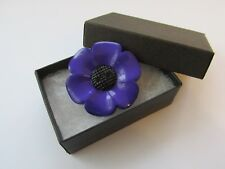 Handmade Large Purple & Black Remembrance Poppy Flower Brooch Pin - Boxed 11901P