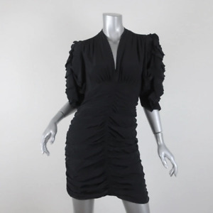 Isabel Marant Dress Andor Black Ruched Silk Size 40 Ruffled Sleeve Mini