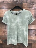 Akemi + Kin Women's Sage Green Distressed Embroidered Sleeve Shirt Size XS