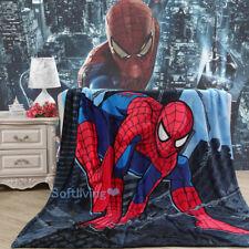 Soft Warm Plush Flannel Bedding Sleep Blanket Flat Queen 150X200 Spiderman Red