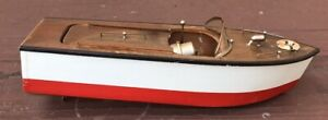 """BATTERY OPERATED WOODEN SPEED BOAT, 10""""  WOOD TOY  BOAT, 1950S"""