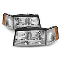 Headlights Set Left Right w/Corner Lights 4-Pc Fits 97-99 Cadillac Deville