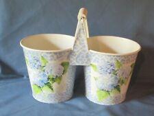 White Painted Metal Handled Double Vase Decoupage Floral Decoration Hydrangea