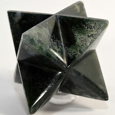 """2.6"""" Green White Moss Agate 8 Point Merkaba Star Natural Crystal Stone - India"""
