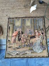 """Antique French Colonial Scene Tapestry 38"""" x 36"""""""