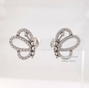 BUTTERFLY OUTLINES Authentic PANDORA Silver Earring Studs 297912CZ NEW w POUCH!