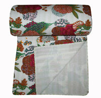 White Fruit Printed Kantha Bed Cover Kantha Handmade Bedspread Blanket Throw Bed