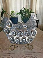 Metal hen deviled egg holder plate holds 12