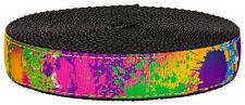 Country Brook Design® 3/4 Inch Paint Splatter on Black Nylon Webbing, 5 Yards