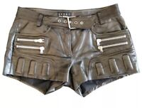 The Kooples Sport Black Leather Shorts Womens Hot Pants Belt Biker RRP £288