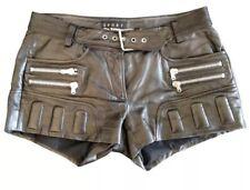 The Kooples Sport Black Leather Shorts Womens Hot Pants Belt Biker Selfridges