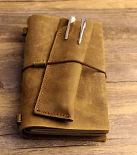 Vintage gift 3 Diaries Journals notebook genuine leather brown handmade D0522