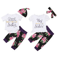 "Newborn Baby Girl ""Little Big Sister"" Romper Tops T-shirt+Pants Outfits Clothes"
