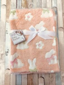Bunny Print Baby Blanket, Peach, Soft and Cuddly