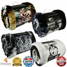 3D FAUX FUR THROW ANIMAL PRINT BLANKET DOUBLE KING SIZE FOR SOFA BED