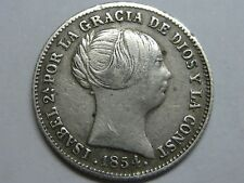 1854 BARCELONA 1 REAL SPAIN ISABEL II PLATA SPANISH PLATA SILVER