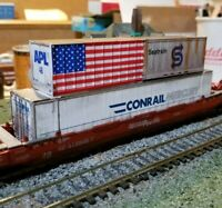 ATHEARN Weathered HUSKY STACK WELL CAR Southern Pacific 3 CONTAINERS flag  HO