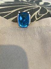 David Yurman Sterling Silver 20 X 16mm Wheaton Ring Topaz & Diamonds Sz 6.5