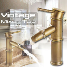 Bamboo Vintage Bronze Bathroom Basin Sink Faucet Hot and Cold Water Deck