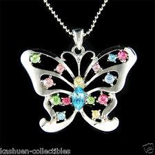 w Swarovski Crystal ~Big Rainbow Cutout BUTTERFLY~ Charm Pendant Chain Necklace
