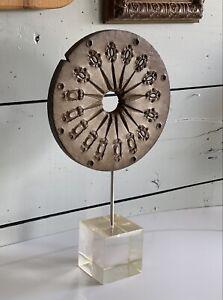 Mid Century Rubber & Lucite Disc Sculpture