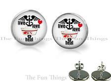 RN Registered Nurse Glass Top Stud Earrings 18mm Live Love Heal Gift Earrings