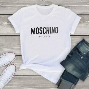 Polyester Women White Printed Black T-shirt Men Moschino Short sleeve