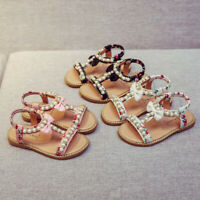 Kids Baby Girls Sandals Bowknot Shoes Pearl Crystal Roman Sandals Princess Shoes