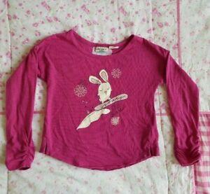 ROXY Sz 3 fuschia Bunny Long Sleeve Crop Top