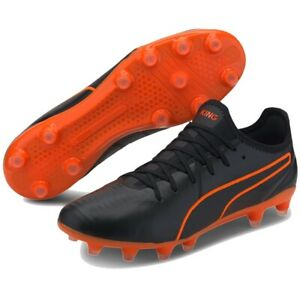 Puma King Pro FG Black/Orange Soccer Cleat Mens 8 Wom 9.5 $100