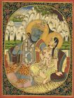 Antique Indian Miniature Painting Of Lord Shiv Parvati On Paper Hindu Religious