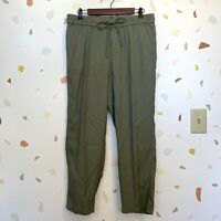Talbots SZ 10 Olive Green Elastic Tie Waist Pull On Crop Ankle Casual Pants