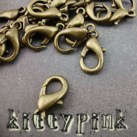 25 14mm Antique Gold Lobster Trigger Clasps Bronze