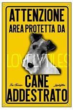 FOX TERRIER AREA PROTETTA TARGA ATTENTI AL CANE CARTELLO PVC GIALLO