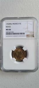 Mexico 5 Centavos 1960Mo Brass NGC MS 66