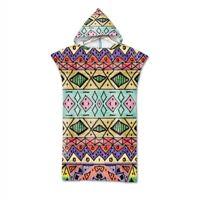 Aztec BOHO Geometric Zigzags Diamonds Dots Hooded Swim Bath Beach Poncho Towel