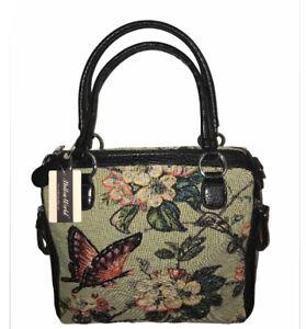 NEW Mellow World Flower Shop Hand-beaded Tote Hand Bag Black & Green Beautiful
